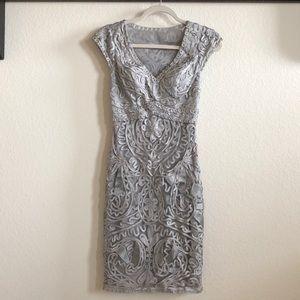 Sue Wong Gray Ribbon Lace Dress Size 0